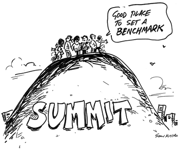 People on a summit saying it's a good place to set a benchmark